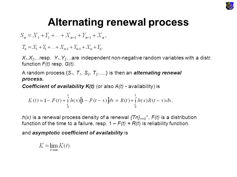Models with a negligible renewal period Poisson process: Gamma distribution of a time to failure: Using Laplace integral transformation we obtain: is k th nonzero root of the equation (s + λ) a = λ a For example for a = 4 nonzero roots are equal to: and a renewal density For example for a = 4 nonzero roots are equal to: