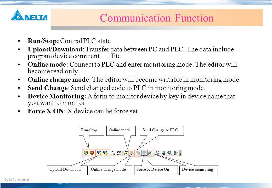 Run/Stop Upload/Download Online mode Online change mode Send Change to PLC Device monitoring Communication Function Run/Stop: Control PLC state Upload/Download: Transfer data between PC and PLC.