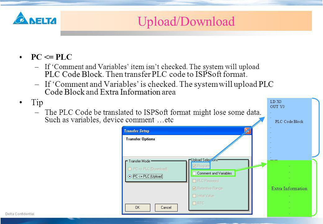 Upload/Download PC <= PLC PLC Code Block –If Comment and Variables item isnt checked.