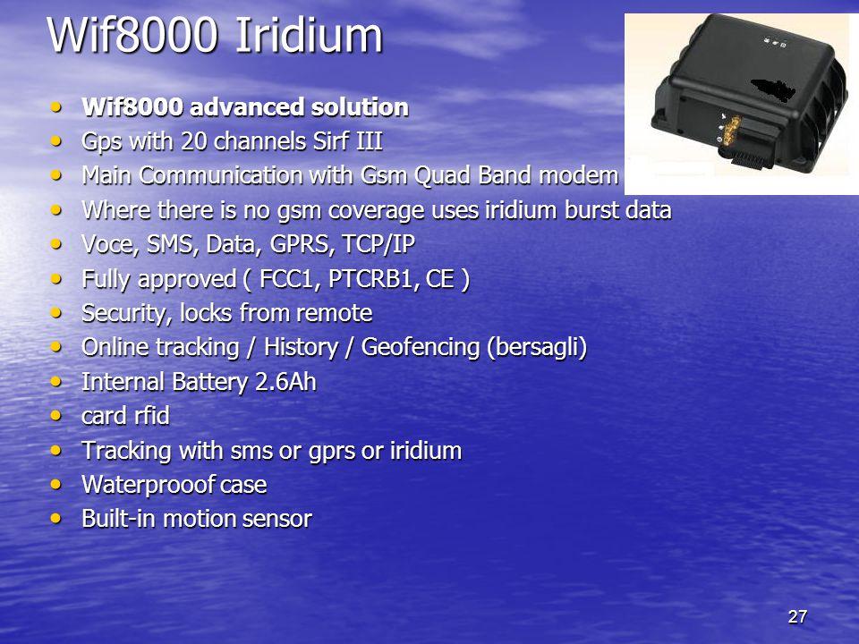27 Wif8000 Iridium Wif8000 advanced solution Wif8000 advanced solution Gps with 20 channels Sirf III Gps with 20 channels Sirf III Main Communication