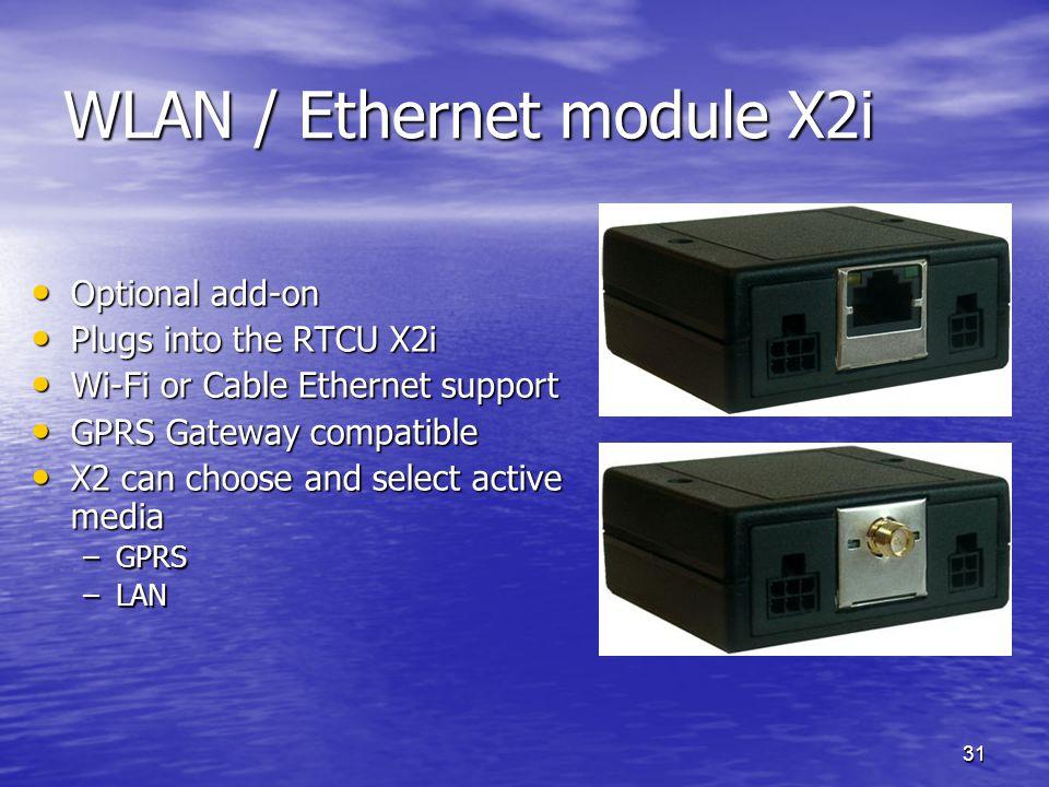31 WLAN / Ethernet module X2i Optional add-on Optional add-on Plugs into the RTCU X2i Plugs into the RTCU X2i Wi-Fi or Cable Ethernet support Wi-Fi or