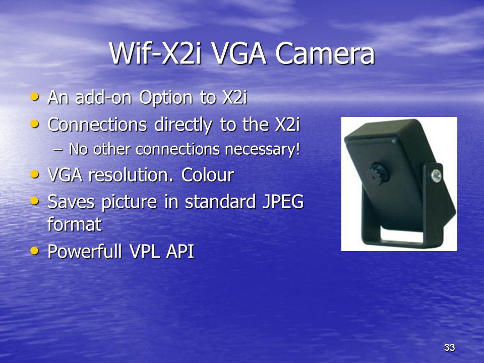 33 Wif-X2i VGA Camera An add-on Option to X2i An add-on Option to X2i Connections directly to the X2i Connections directly to the X2i –No other connec