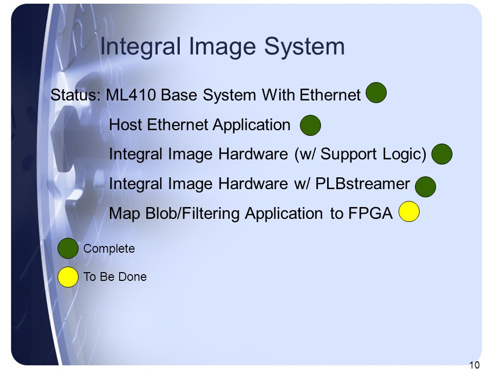 10 Integral Image System Status: ML410 Base System With Ethernet Host Ethernet Application Integral Image Hardware (w/ Support Logic) Integral Image Hardware w/ PLBstreamer Map Blob/Filtering Application to FPGA Complete To Be Done