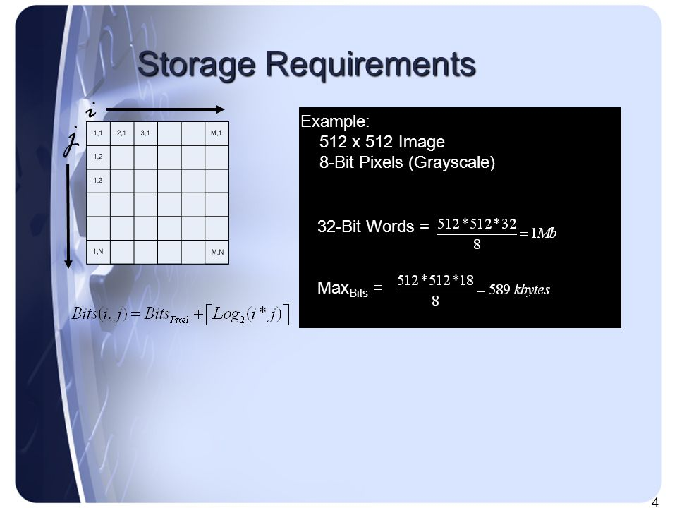 4 Storage Requirements i j Example: 512 x 512 Image 8-Bit Pixels (Grayscale) 32-Bit Words = Max Bits =