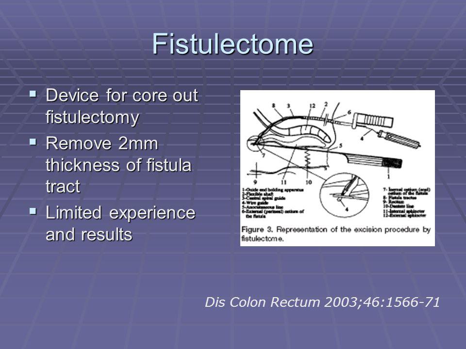 Fistulectome Device for core out fistulectomy Device for core out fistulectomy Remove 2mm thickness of fistula tract Remove 2mm thickness of fistula t
