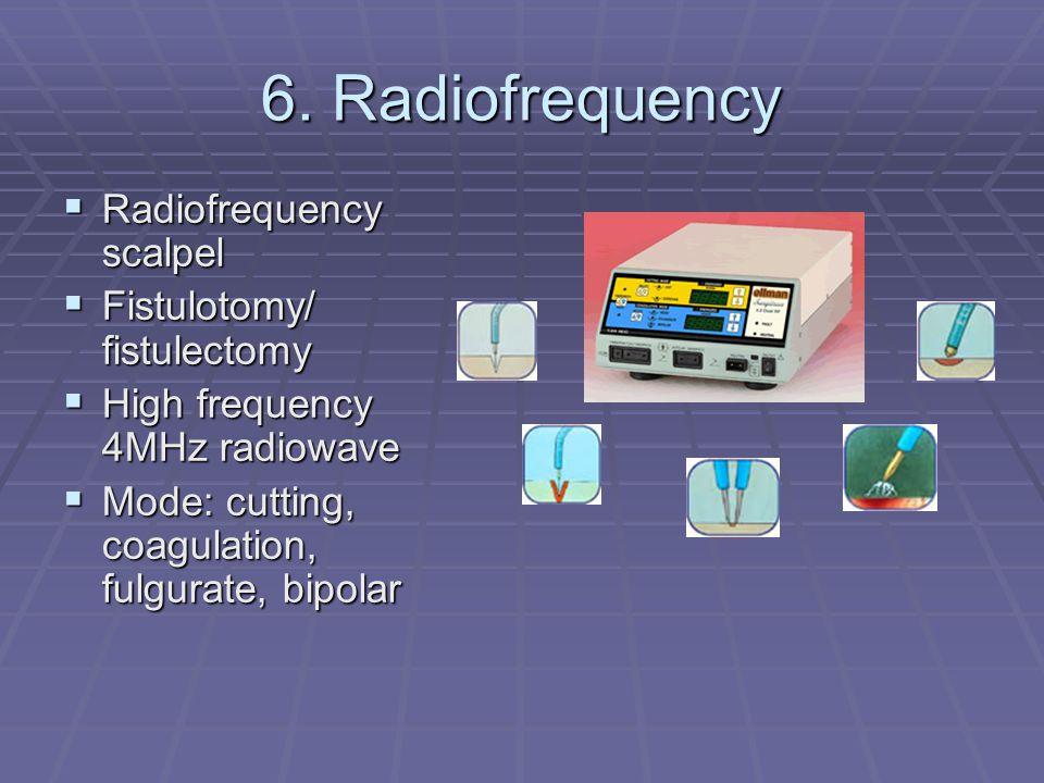 6. Radiofrequency Radiofrequency scalpel Radiofrequency scalpel Fistulotomy/ fistulectomy Fistulotomy/ fistulectomy High frequency 4MHz radiowave High