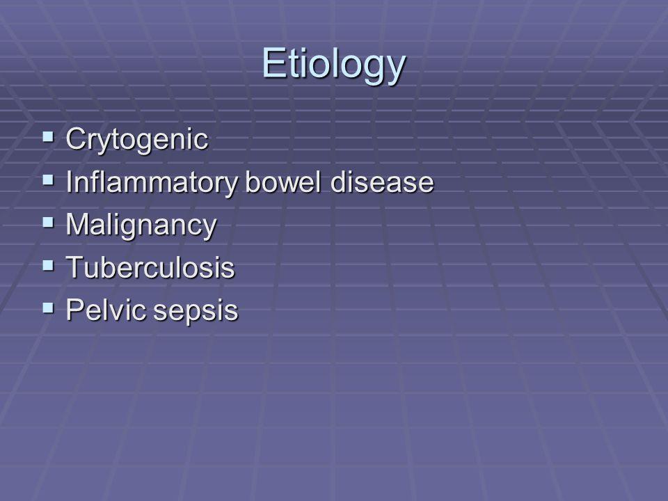 Etiology Crytogenic Crytogenic Inflammatory bowel disease Inflammatory bowel disease Malignancy Malignancy Tuberculosis Tuberculosis Pelvic sepsis Pel