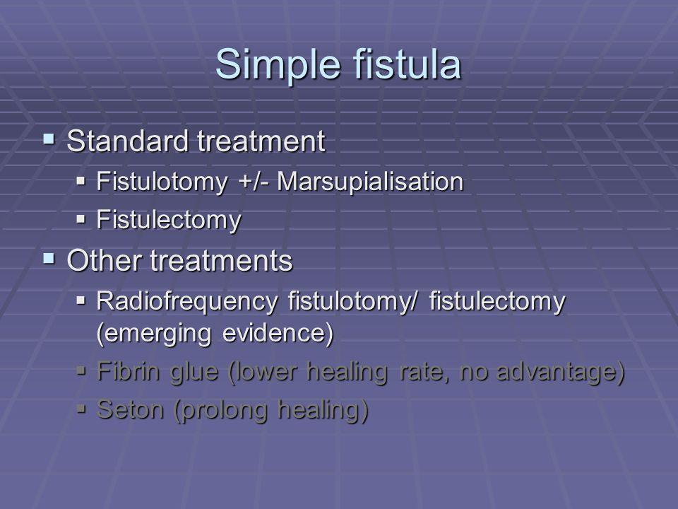Simple fistula Standard treatment Standard treatment Fistulotomy +/- Marsupialisation Fistulotomy +/- Marsupialisation Fistulectomy Fistulectomy Other
