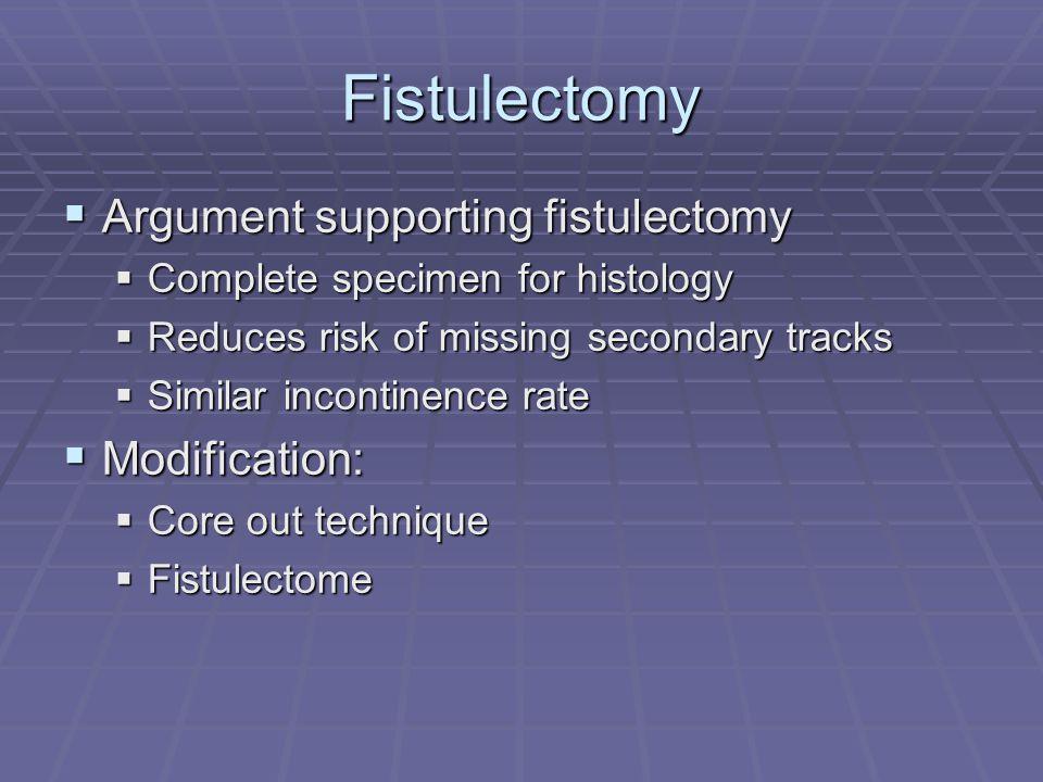 Fistulectomy Argument supporting fistulectomy Argument supporting fistulectomy Complete specimen for histology Complete specimen for histology Reduces
