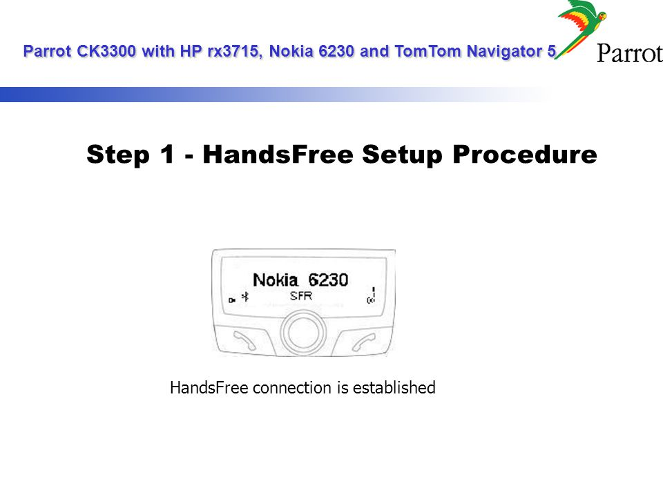 Step 2 - GPS Setup Procedure Tap on the START menu and select the SETTINGS command Select the CONNECTIONS tab and enter the BLUETOOTH menu PDAs today screen Parrot CK3300 with HP rx3715, Nokia 6230 and TomTom Navigator 5 Parrot CK3300 with HP rx3715, Nokia 6230 and TomTom Navigator 5