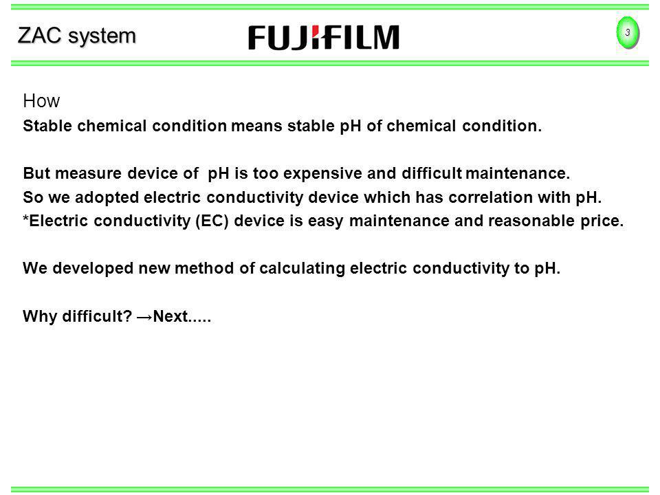 3 ZAC system How Stable chemical condition means stable pH of chemical condition. But measure device of pH is too expensive and difficult maintenance.