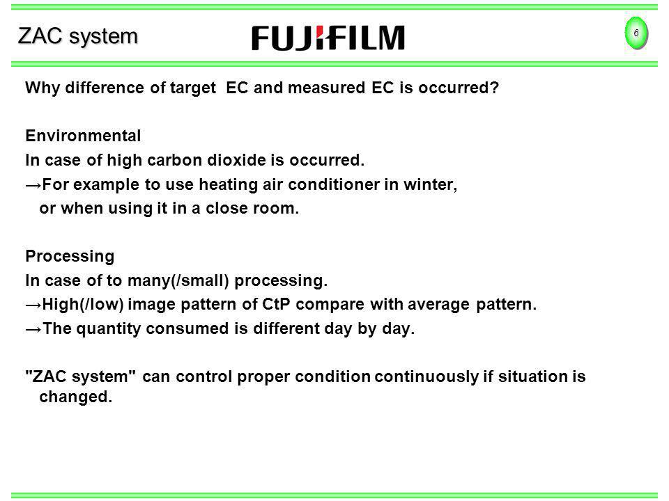 6 ZAC system Why difference of target EC and measured EC is occurred? Environmental In case of high carbon dioxide is occurred. For example to use hea