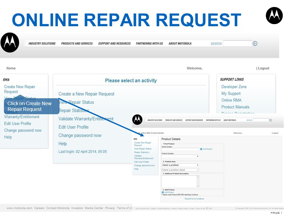 ONLINE REPAIR REQUEST PAGE 7 Click on Create New Repair Request