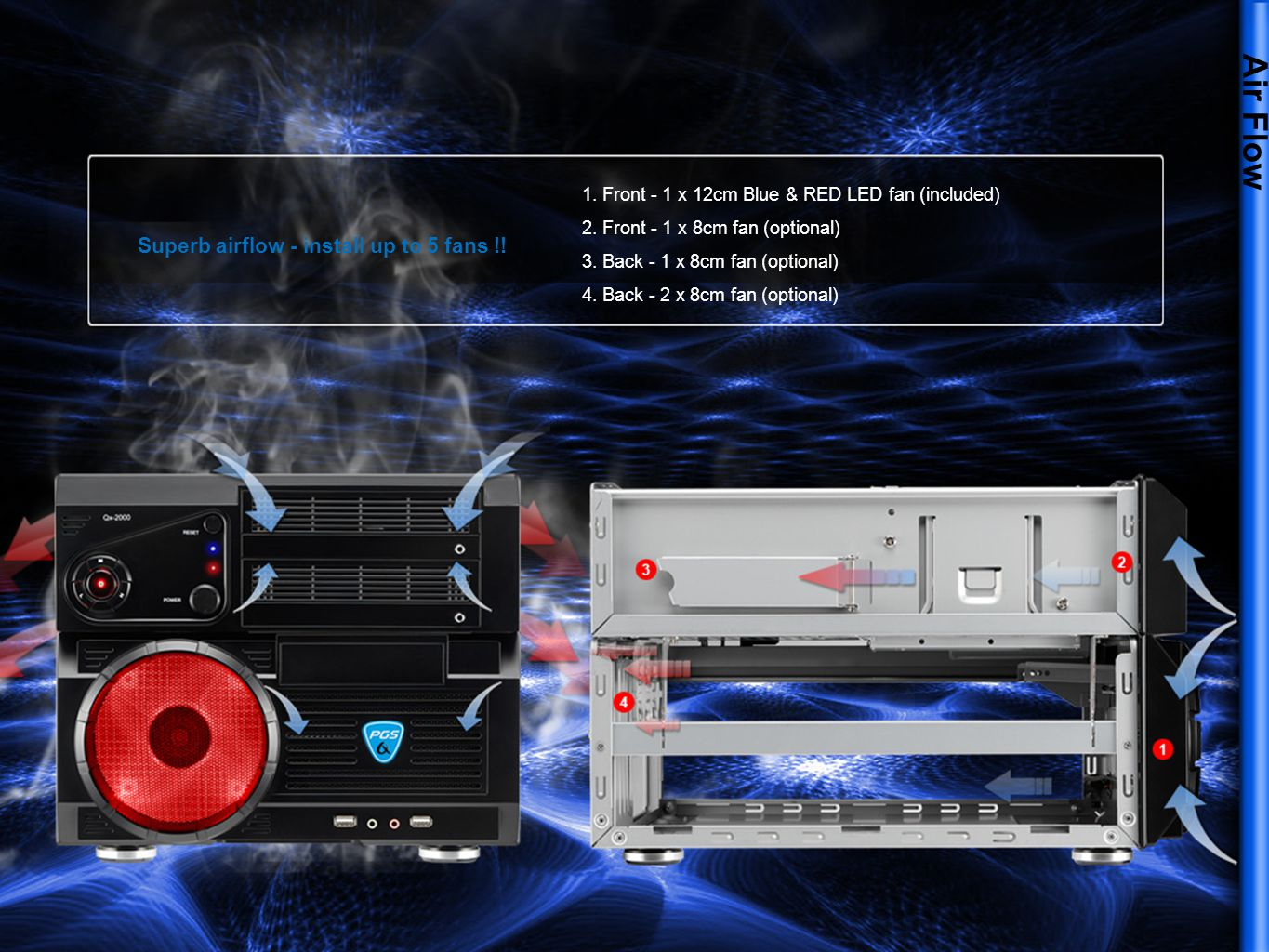 Air Flow Superb airflow - install up to 5 fans !! 1. Front - 1 x 12cm Blue & RED LED fan (included) 2. Front - 1 x 8cm fan (optional) 3. Back - 1 x 8c