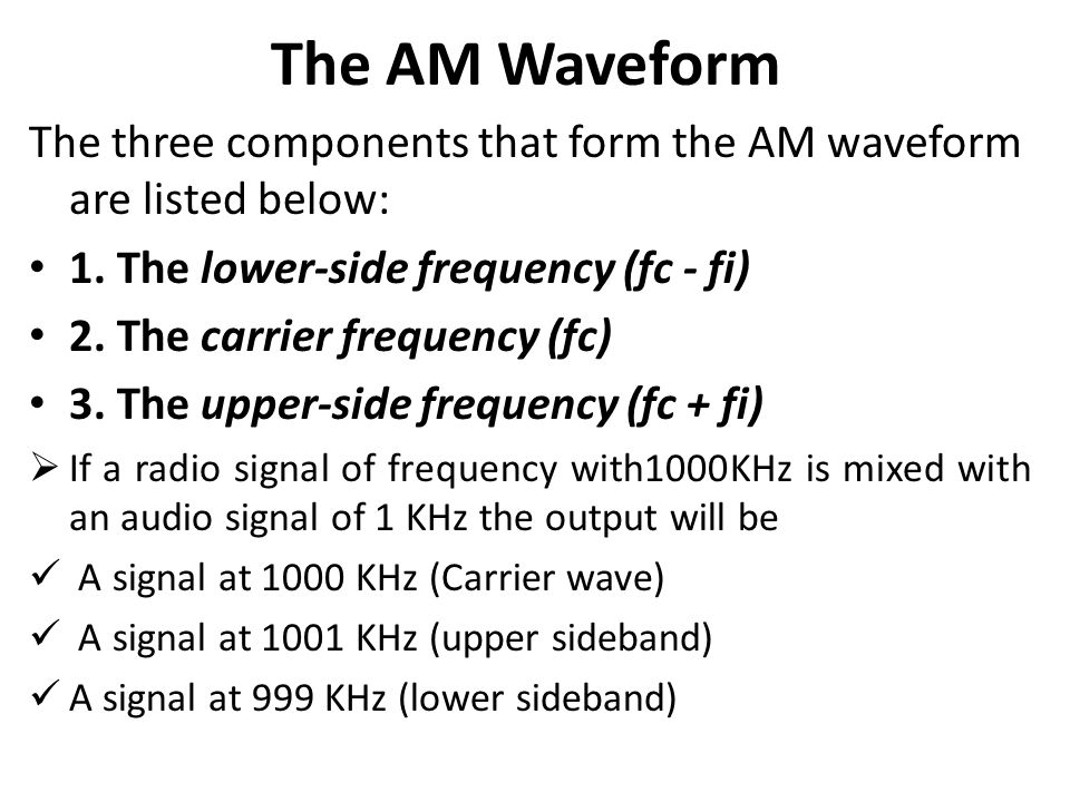 The AM Waveform The three components that form the AM waveform are listed below: 1. The lower-side frequency (fc - fi) 2. The carrier frequency (fc) 3