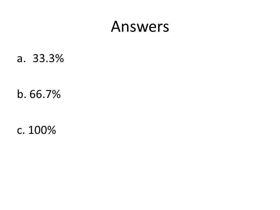 Answers a.33.3% b. 66.7% c. 100%