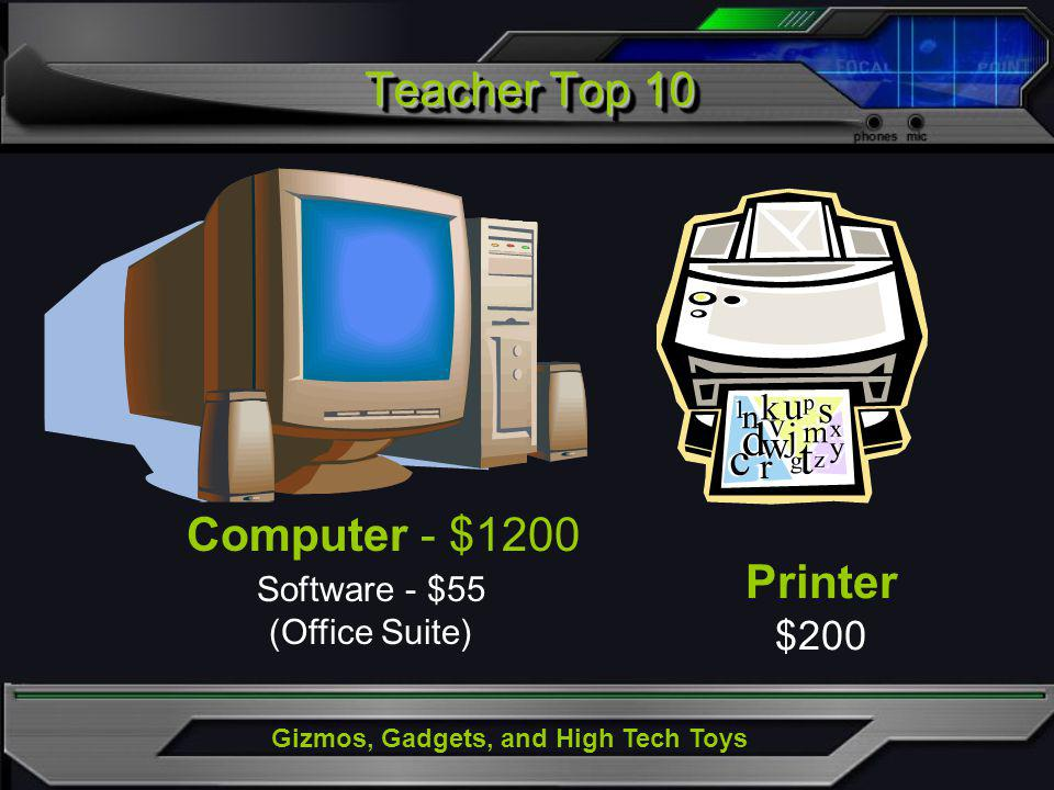 Gizmos, Gadgets, and High Tech Toys Teacher Top 10 Printer $200 Computer - $1200 Software - $55 (Office Suite)