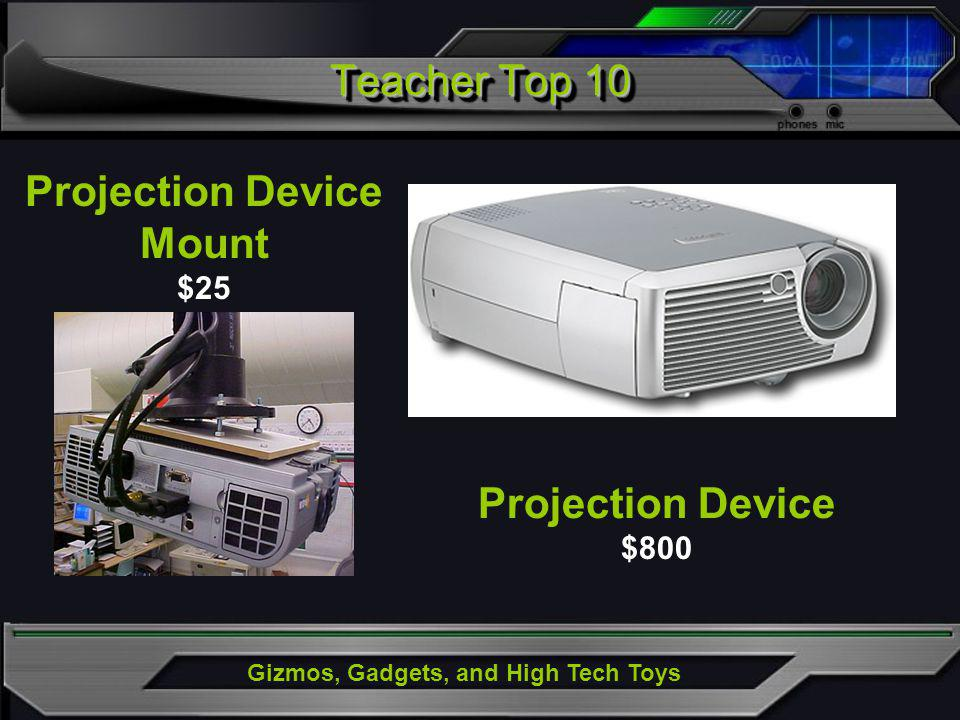 Gizmos, Gadgets, and High Tech Toys Projection Device $800 Projection Device Mount $25 Teacher Top 10