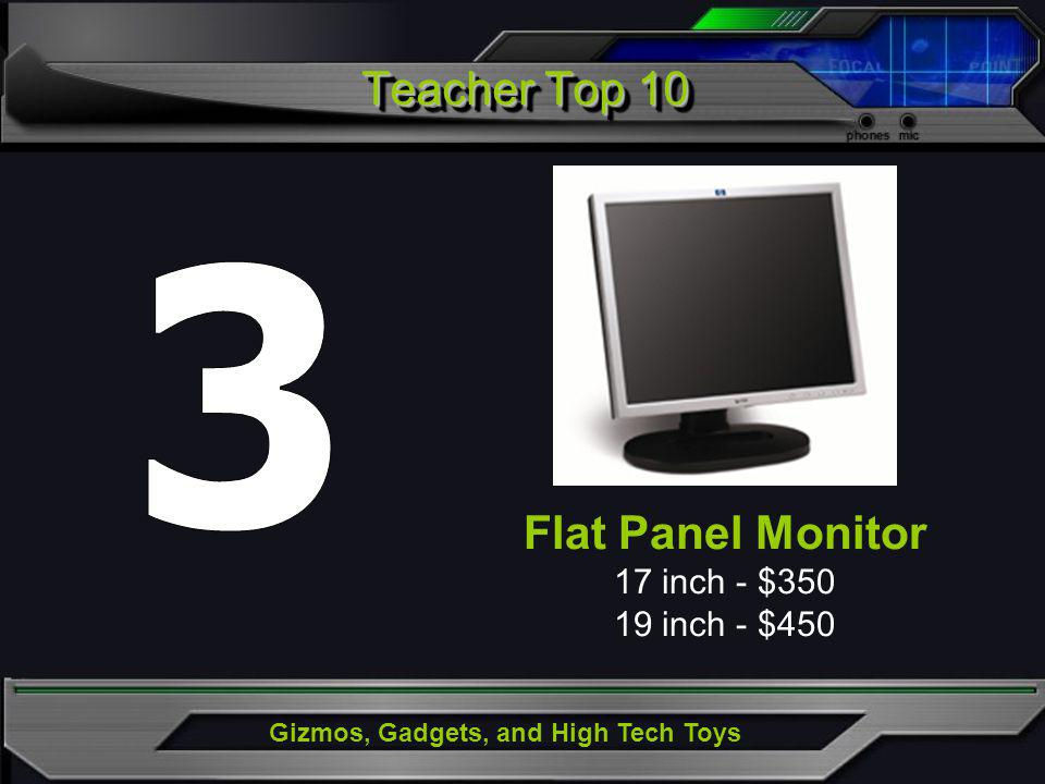 Gizmos, Gadgets, and High Tech Toys Flat Panel Monitor 17 inch - $350 19 inch - $450 Teacher Top 10