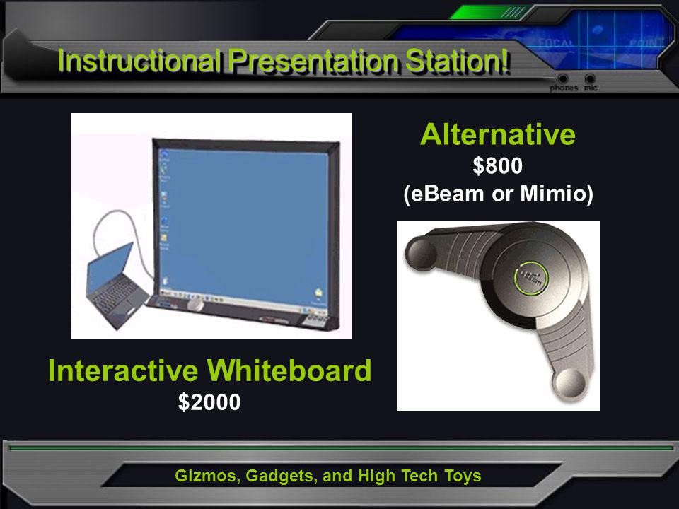 Gizmos, Gadgets, and High Tech Toys Instructional Presentation Station! Interactive Whiteboard $2000 Alternative $800 (eBeam or Mimio)