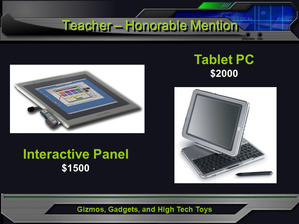 Gizmos, Gadgets, and High Tech Toys Interactive Panel $1500 Tablet PC $2000 Teacher – Honorable Mention