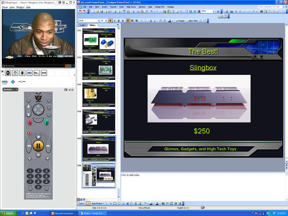 Gizmos, Gadgets, and High Tech Toys The Best! Slingbox $250