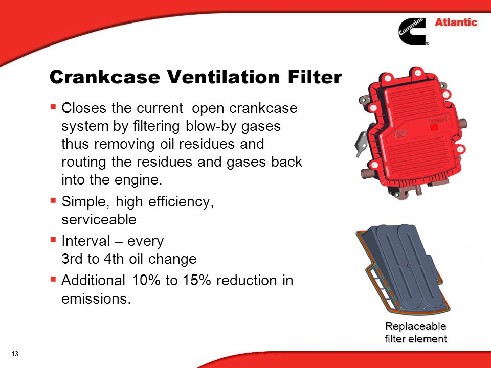 13 Crankcase Ventilation Filter Closes the current open crankcase system by filtering blow-by gases thus removing oil residues and routing the residues and gases back into the engine.
