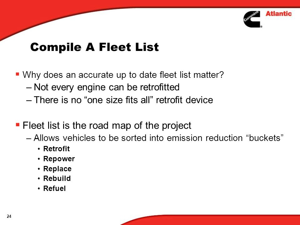 24 Compile A Fleet List Why does an accurate up to date fleet list matter.