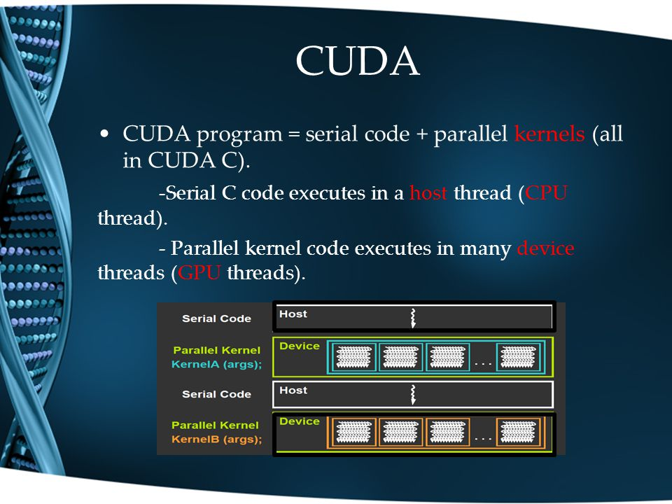 CUDA CUDA program = serial code + parallel kernels (all in CUDA C).