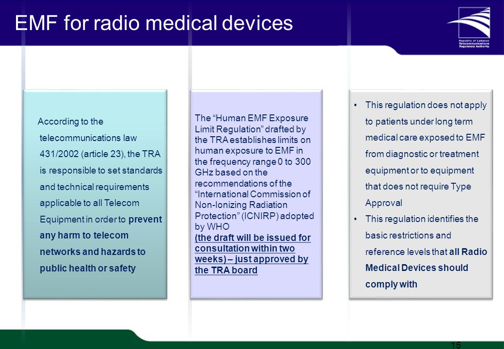 TRA Proprietary 1/20 EMF for radio medical devices 15 According to the telecommunications law 431/2002 (article 23), the TRA is responsible to set standards and technical requirements applicable to all Telecom Equipment in order to prevent any harm to telecom networks and hazards to public health or safety The Human EMF Exposure Limit Regulation drafted by the TRA establishes limits on human exposure to EMF in the frequency range 0 to 300 GHz based on the recommendations of theInternational Commission of Non-Ionizing Radiation Protection (ICNIRP) adopted by WHO (the draft will be issued for consultation within two weeks) – just approved by the TRA board The Human EMF Exposure Limit Regulation drafted by the TRA establishes limits on human exposure to EMF in the frequency range 0 to 300 GHz based on the recommendations of theInternational Commission of Non-Ionizing Radiation Protection (ICNIRP) adopted by WHO (the draft will be issued for consultation within two weeks) – just approved by the TRA board This regulation does not apply to patients under long term medical care exposed to EMF from diagnostic or treatment equipment or to equipment that does not require Type Approval This regulation identifies the basic restrictions and reference levels that all Radio Medical Devices should comply with This regulation does not apply to patients under long term medical care exposed to EMF from diagnostic or treatment equipment or to equipment that does not require Type Approval This regulation identifies the basic restrictions and reference levels that all Radio Medical Devices should comply with