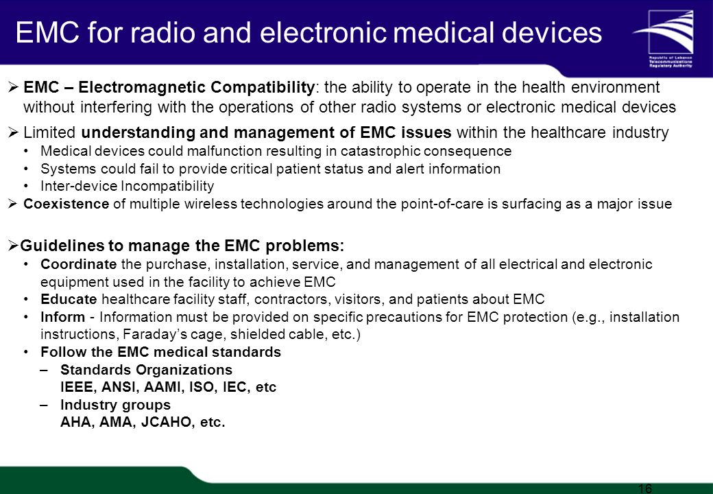 TRA Proprietary 1/20 EMC for radio and electronic medical devices EMC – Electromagnetic Compatibility: the ability to operate in the health environment without interfering with the operations of other radio systems or electronic medical devices Limited understanding and management of EMC issues within the healthcare industry Medical devices could malfunction resulting in catastrophic consequence Systems could fail to provide critical patient status and alert information Inter-device Incompatibility Coexistence of multiple wireless technologies around the point-of-care is surfacing as a major issue Guidelines to manage the EMC problems: Coordinate the purchase, installation, service, and management of all electrical and electronic equipment used in the facility to achieve EMC Educate healthcare facility staff, contractors, visitors, and patients about EMC Inform - Information must be provided on specific precautions for EMC protection (e.g., installation instructions, Faradays cage, shielded cable, etc.) Follow the EMC medical standards –Standards Organizations IEEE, ANSI, AAMI, ISO, IEC, etc –Industry groups AHA, AMA, JCAHO, etc.