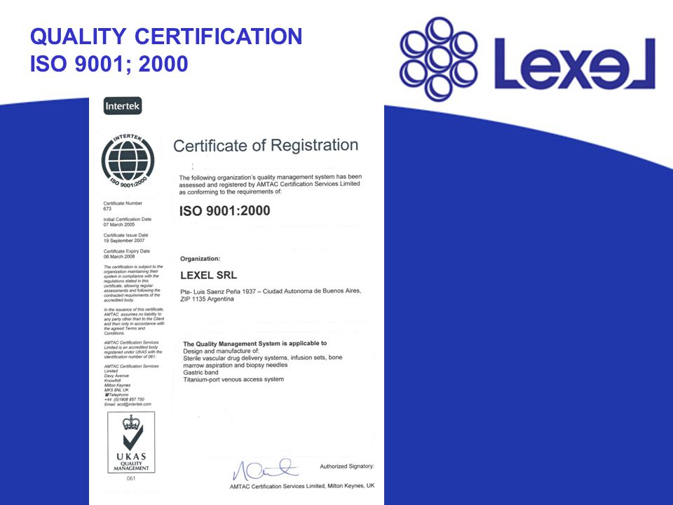 QUALITY CERTIFICATION ISO 9001; 2000