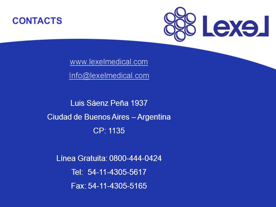 CONTACTS www.lexelmedical.com Info@lexelmedical.com Luis Sáenz Peña 1937 Ciudad de Buenos Aires – Argentina CP: 1135 Línea Gratuita: 0800-444-0424 Tel