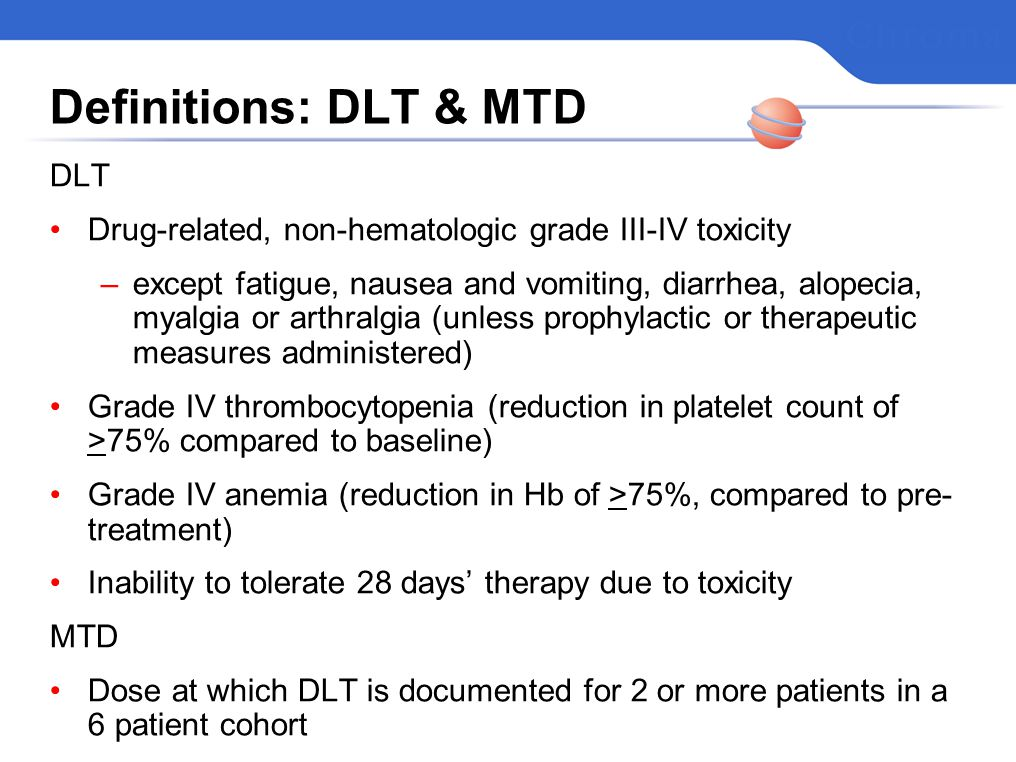 Definitions: DLT & MTD DLT Drug-related, non-hematologic grade III-IV toxicity –except fatigue, nausea and vomiting, diarrhea, alopecia, myalgia or arthralgia (unless prophylactic or therapeutic measures administered) Grade IV thrombocytopenia (reduction in platelet count of >75% compared to baseline) Grade IV anemia (reduction in Hb of >75%, compared to pre- treatment) Inability to tolerate 28 days therapy due to toxicity MTD Dose at which DLT is documented for 2 or more patients in a 6 patient cohort