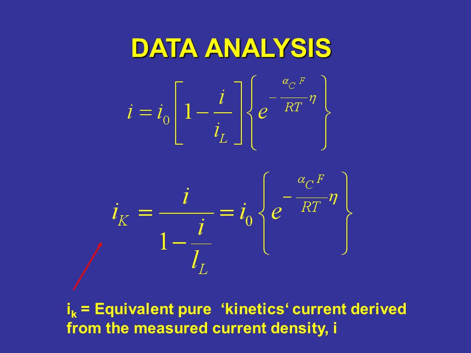 DATA ANALYSIS i k = Equivalent pure kinetics current derived from the measured current density, i