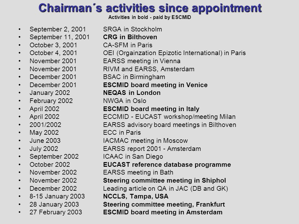 Chairman´s activities since appointment Chairman´s activities since appointment Activities in bold - paid by ESCMID September 2, 2001 September 11, 2001 October 3, 2001 October 4, 2001 November 2001 December 2001 January 2002 February 2002 April 2002 2001/2002 May 2002 June 2003 July 2002 September 2002 October 2002 November 2002 December 2002 8-15 January 2003 28 January 2003 27 February 2003 SRGA in Stockholm CRG in Bilthoven CA-SFM in Paris OEI (Orgainzation Epizotic International) in Paris EARSS meeting in Vienna RIVM and EARSS, Amsterdam BSAC in Birmingham ESCMID board meeting in Venice NEQAS in London NWGA in Oslo ESCMID board meeting in Italy ECCMID - EUCAST workshop/meeting Milan EARSS advisory board meetings in Bilthoven ECC in Paris IACMAC meeting in Moscow EARSS report 2001 - Amsterdam ICAAC in San Diego EUCAST reference database programme EARSS meeting in Bath Steering committee meeting in Shiphol Leading article on QA in JAC (DB and GK) NCCLS, Tampa, USA Steering committee meeting, Frankfurt ESCMID board meeting in Amsterdam