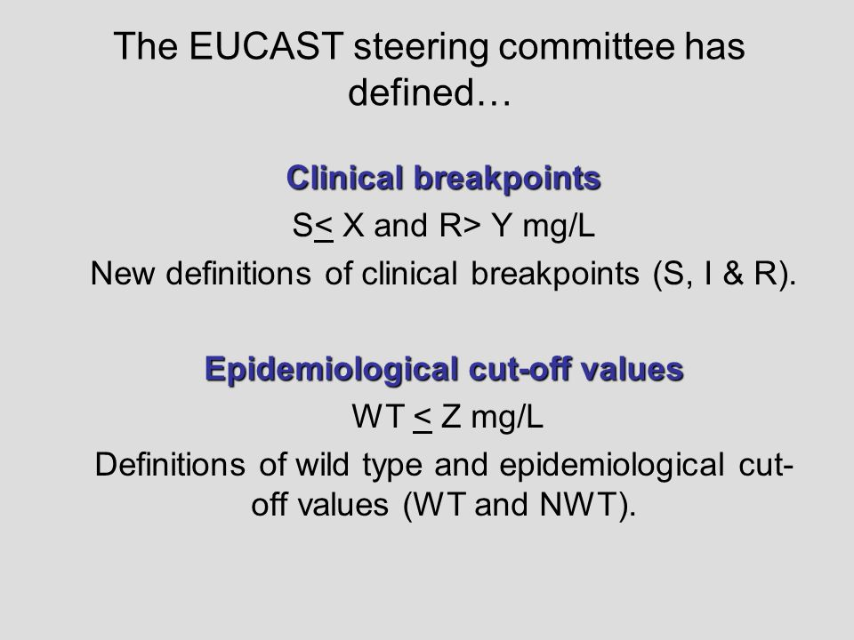 The EUCAST steering committee has defined… Clinical breakpoints S Y mg/L New definitions of clinical breakpoints (S, I & R). Epidemiological cut-off v