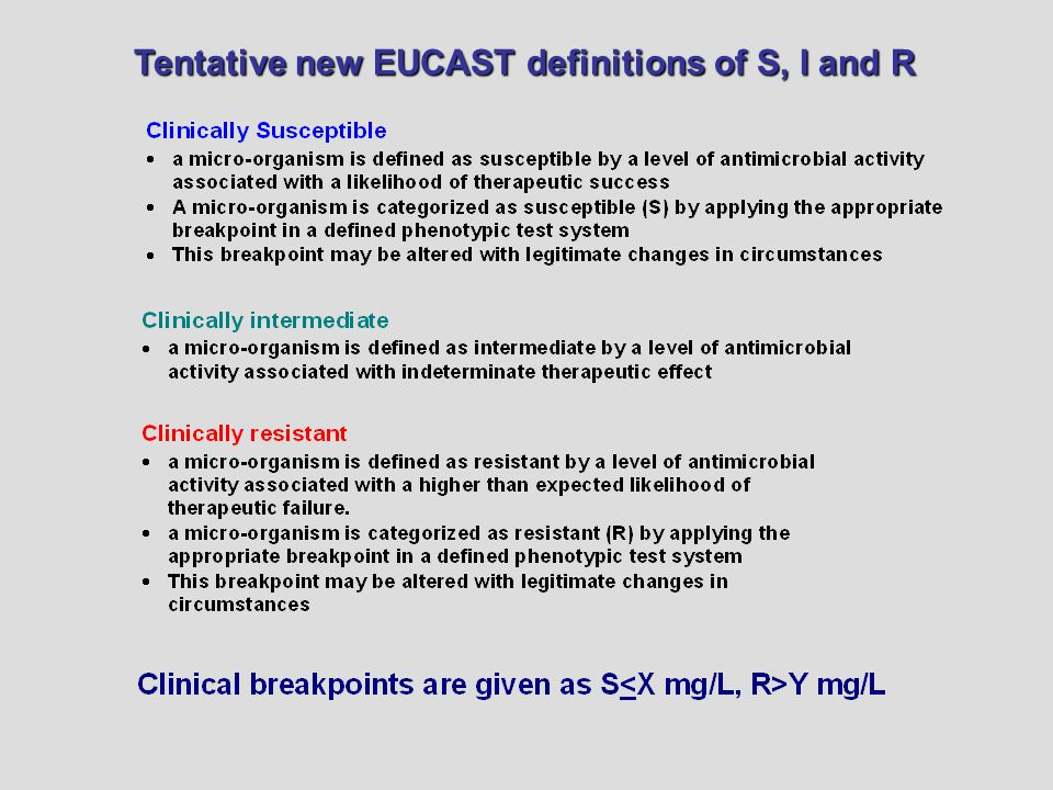 Tentative new EUCAST definitions of S, I and R