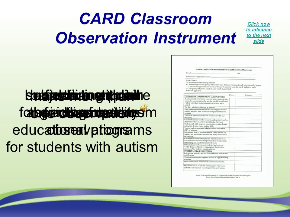 be familiar with all aspects of quality educational programs for students with autism subjective structure for guiding classroom observations make mor