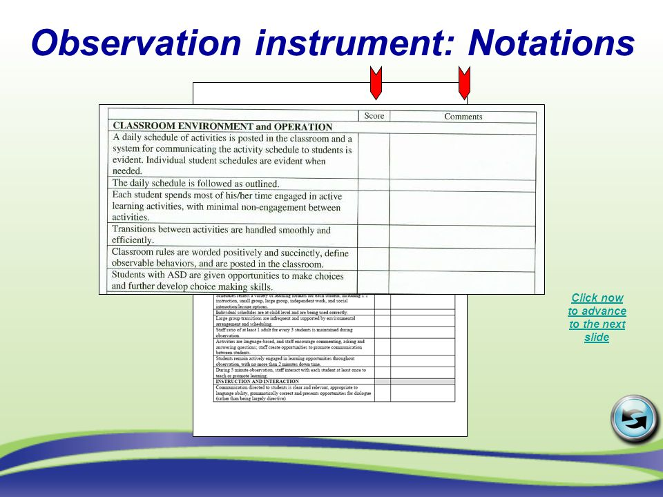 Classroom Environment and Operation Click now to advance to the next slide