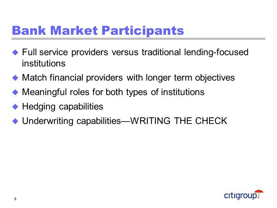 Bank Market Participants Full service providers versus traditional lending-focused institutions Match financial providers with longer term objectives