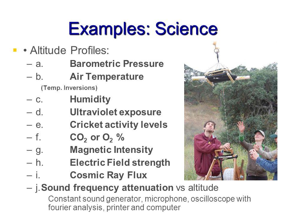 Examples: Science Altitude Profiles: – –a.Barometric Pressure – –b.Air Temperature (Temp.