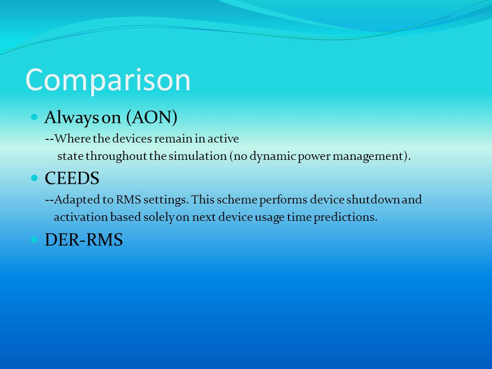 Comparison Always on (AON) --Where the devices remain in active state throughout the simulation (no dynamic power management). CEEDS --Adapted to RMS