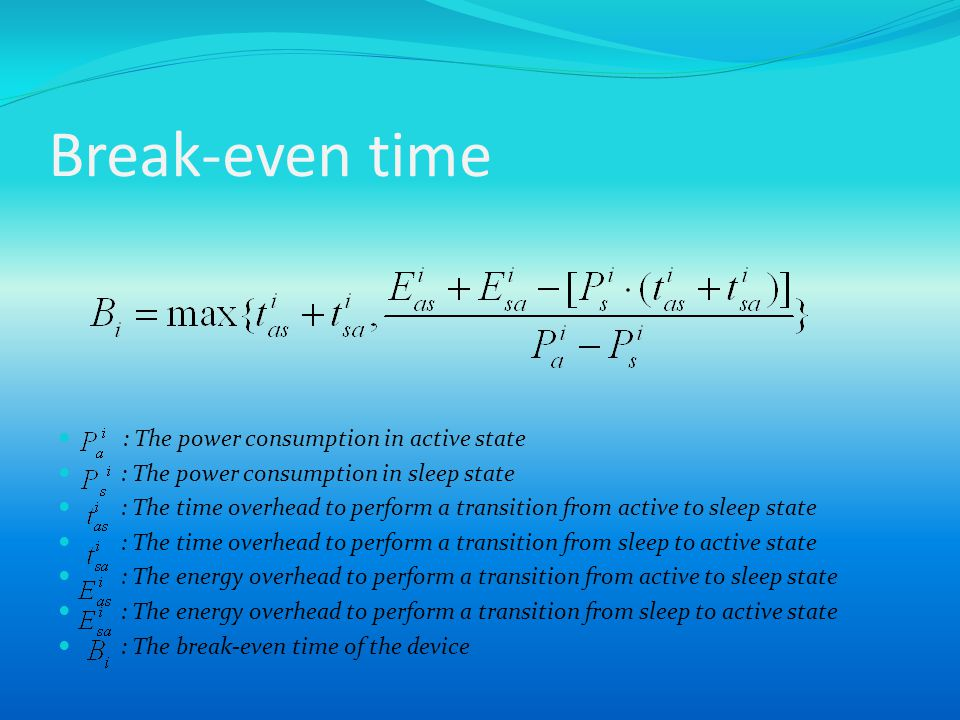 Break-even time : The power consumption in active state : The power consumption in sleep state : The time overhead to perform a transition from active