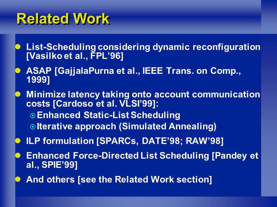 Related Work List-Scheduling considering dynamic reconfiguration [Vasilko et al., FPL96] ASAP [GajjalaPurna et al., IEEE Trans. on Comp., 1999] Minimi