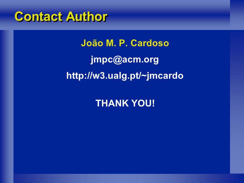 Contact Author João M. P. Cardoso jmpc@acm.org http://w3.ualg.pt/~jmcardo THANK YOU!