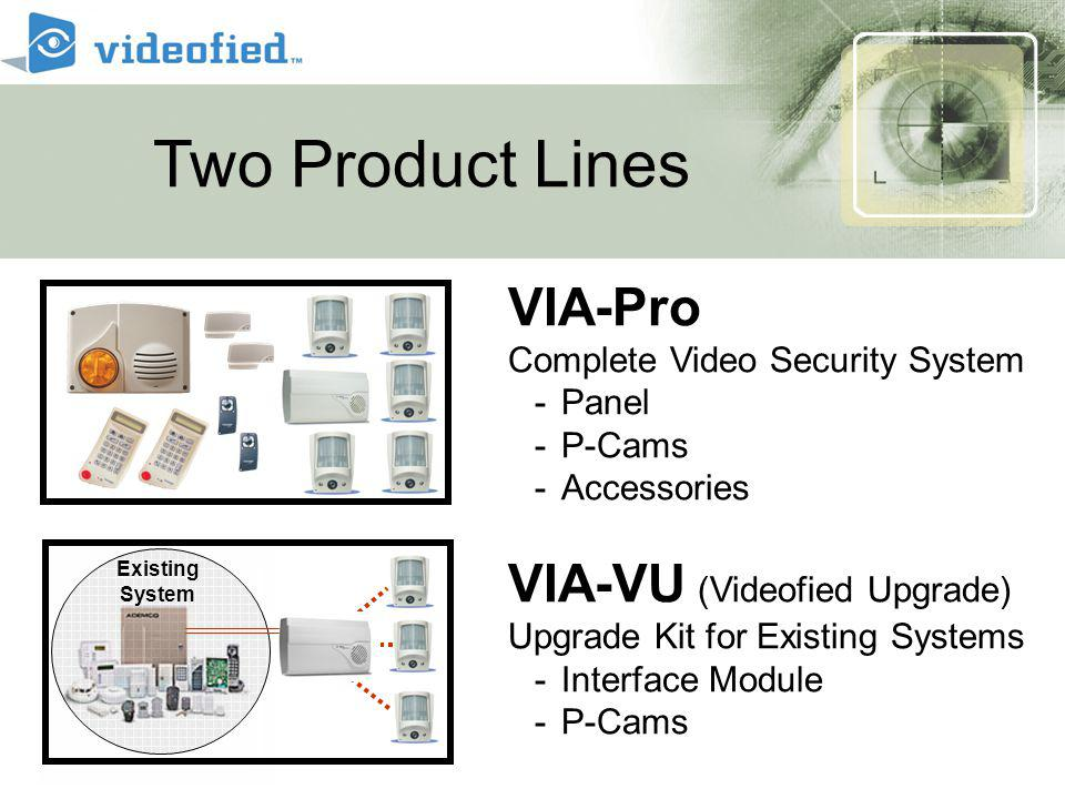 VIA-Pro Complete Video Security System -Panel -P-Cams -Accessories VIA-VU (Videofied Upgrade) Upgrade Kit for Existing Systems -Interface Module -P-Cams Two Product Lines Existing System