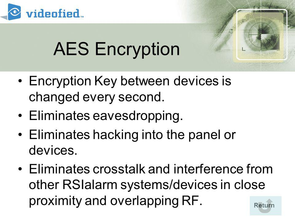 Return AES Encryption Encryption Key between devices is changed every second.