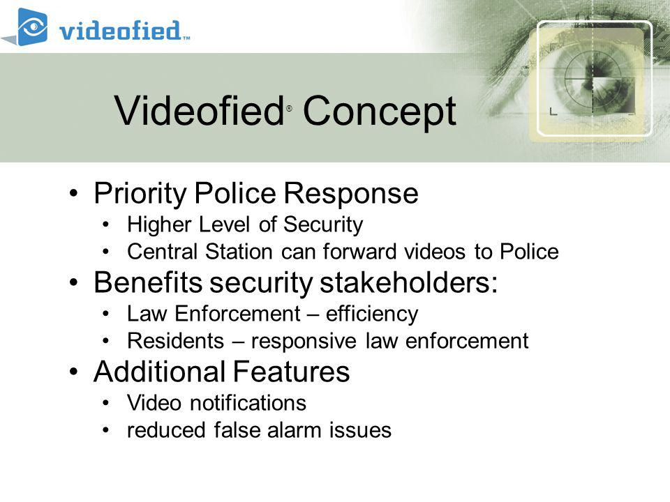 Priority Dispatch European case study 2000 pre-legislation Police response time 34 minutes 80 minutes 7 minutes 2001 post-legislation using Guards to verify alarm 2005 Central Stations and videofied dispatch