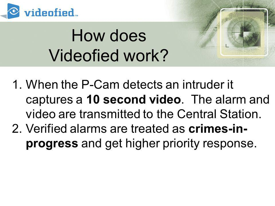 How does Videofied work. 1.When the P-Cam detects an intruder it captures a 10 second video.